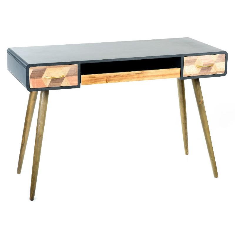 Scrittoio tavolino legno cassetti industrial retrò vintage