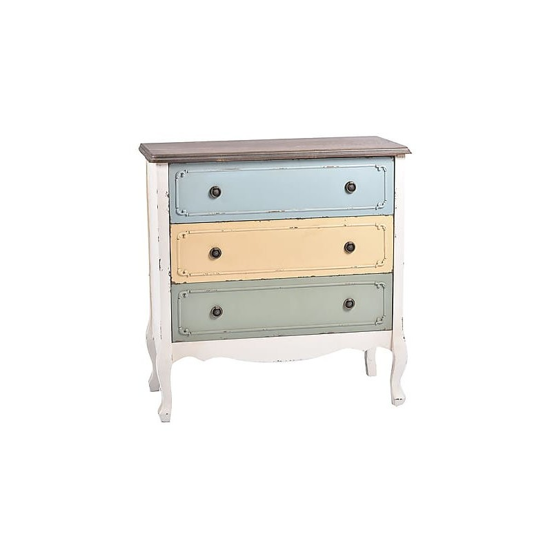 Cassettiera Shabby Chic Color bianco e pastello - Virginia\'s Cottage