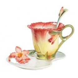 Tazzina tazza caffè fiore giallo rosso piattino porcellana