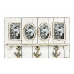 Appendiabiti 3 posti legno portafoto shabby chic parete foto
