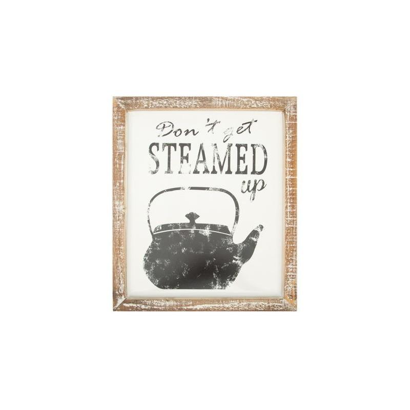 Quadro targa pannello shabby chic teiera country vintage