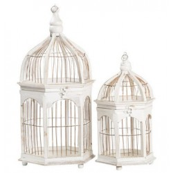 Set 2 gabbie decorative 56cm legno e ferro esagonali shabby