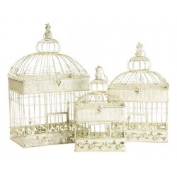 Set 3 gabbie decorative per uccelli vintage shabby chic bianche rettangolari