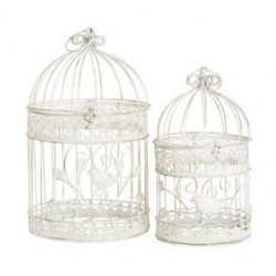 Set coppia gabbie decorative uccelli vintage shabby chic bianche rotonde
