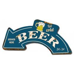 Targa pannello insegna placca freccia ice cold beer birra