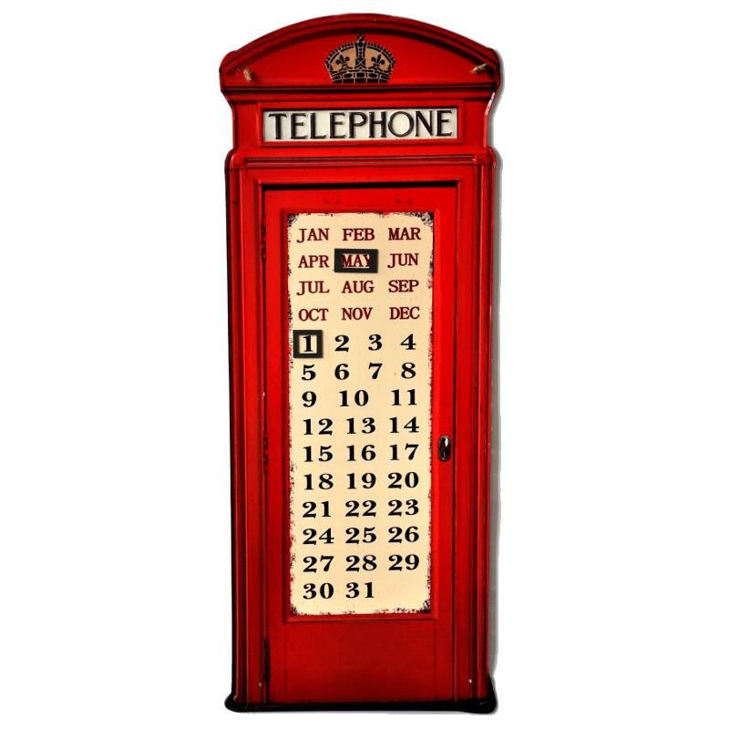 Calendario in latta cabina telefonica inglese vintage