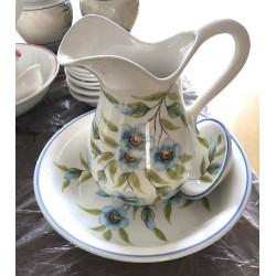 Set da toilette ceramica verde blu foglie piattino catino brocca