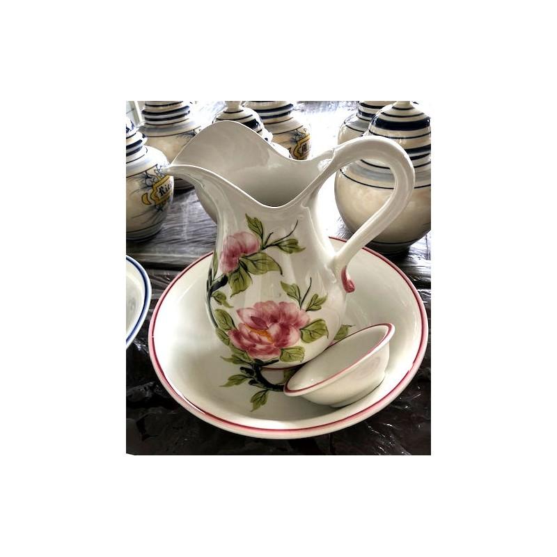 Set da toilette ceramica verde rosa piattino vintage catino brocca