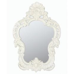 Specchio 100cm in stile barocco in resina bianco