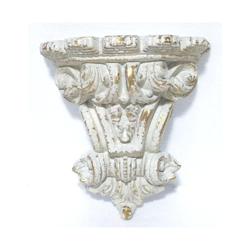 Mensola 38cm decorativa in resina bianco anticato