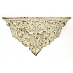 Mensola 60cm decorativa in resina bianco anticato