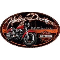 Targa pannello insegna placca metallo ovale Harley Davidson 57cm