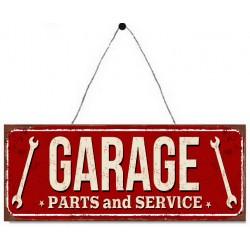 Targa pannello insegna placca metallo garage rossa