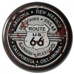 Targa in metallo pannello rotondo Route 66 nero