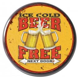 Targa pannello metallo ice cold beer tonda gialla