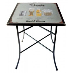 Tavolo quadrato da giardino ferro beer tavolino grigio