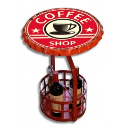 "Tavolino in ferro con portabottiglie ""Coffee shop"""